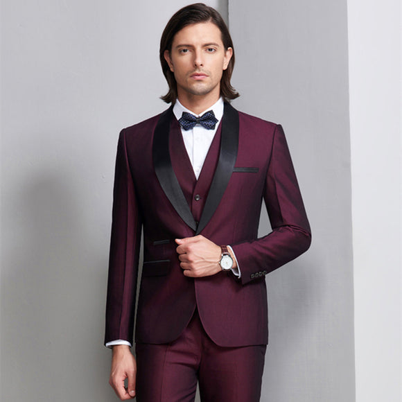 Burgundy Tuxedo 2018 Wedding Suits For Men Shawl Collar Royal Blue Men Suit