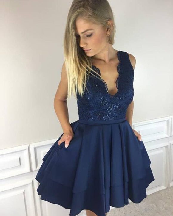 Lace V neck Navy Blue Girls Short Cocktail Homecoming Dress Junior Graduation Prom Gown SP0905