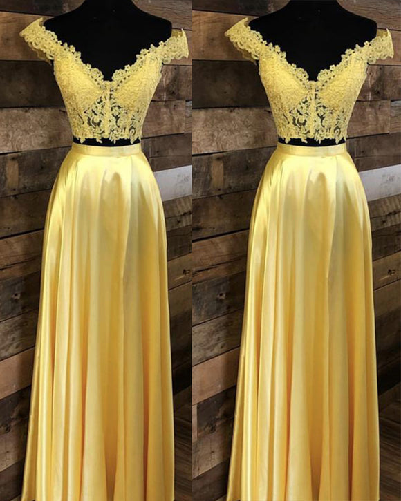 Yellow Crop Top Long Prom Dress Lace Off the Shoulder Gown For Grils PL1100