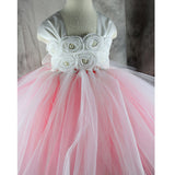 Pink handmade flower Girls Dresses with Bow Sash Ball Gown Baby Communion Gown