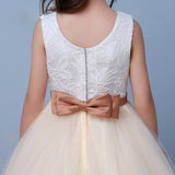 Chic Ivory/Champagne Lace Flower Girl Dresses with Belt Child Communion Dresses 2020