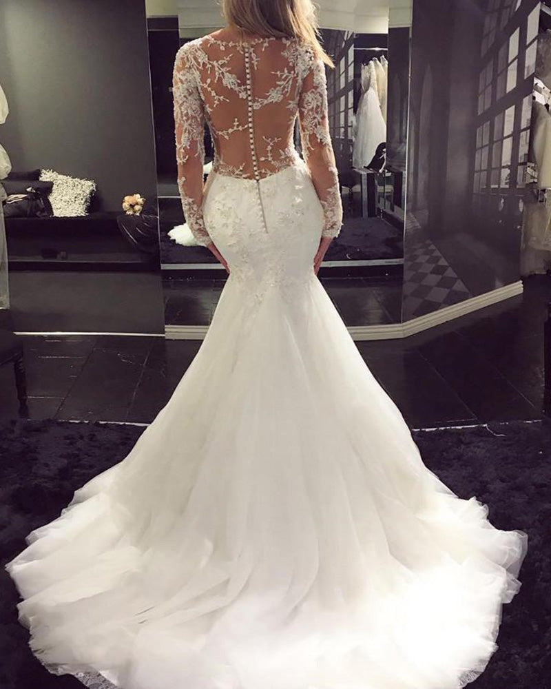 See Through Wedding Dresses.Siaoryne Wd023 Long Sleeves Sexy See Through Wedding Dress Mermaid Bridal Gowns Lace
