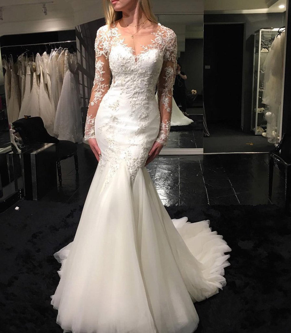 Mermaid Wedding Gowns With Sleeves: Siaoryne WD023 Long Sleeves Sexy See Through Wedding Dress