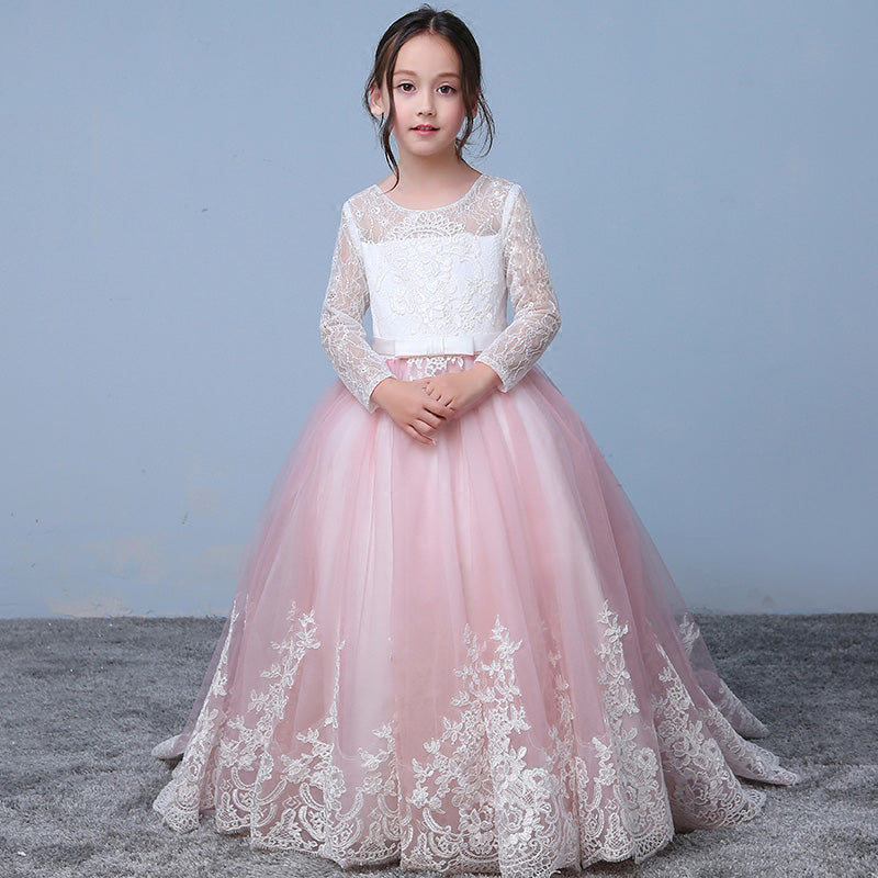2bc2307c702 Pink Whit Lace Flower Girl Dress with Long Sleeves Child Party Communion  Gown ...