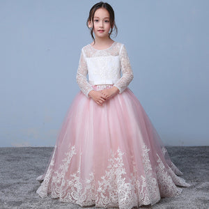 Pink/Whit Lace Flower Girl Dress with Long Sleeves Child Party Communion Gown