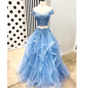 Off the Shoulder Sky Blue Senior Prom Dresses Crop Top Girls Lace Formal Gown Vestido De Festa 2018