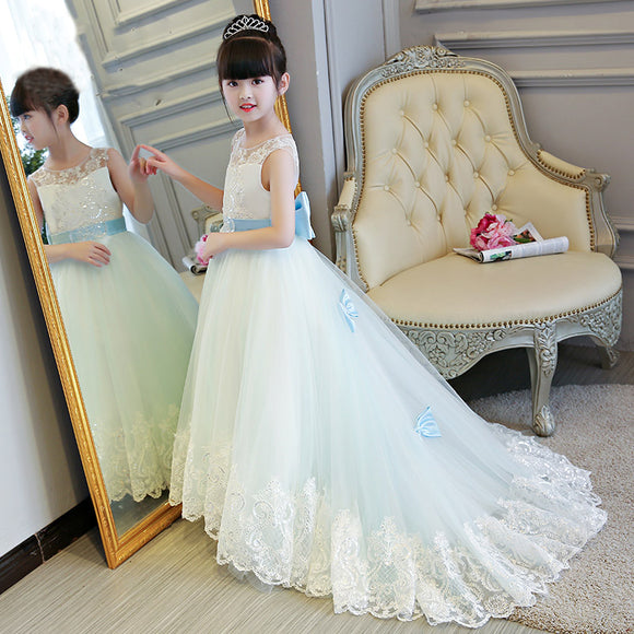 Chic Floor length Lace Flower Girl Dress Poofy Children Communion Dress with Bow