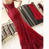 Stunning Wine Red Spaghetti Straps Fishtail Prom Dress Lace Long Girls Evening Party Gown