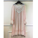 Lace Cotton Long Sleeves Casual Dresses White/Pink Sundress