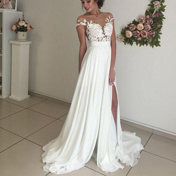 3f317e4ea30 Ivory Dress Beach Bridal Gown Lace and Chiffon Wedding Dress for Summer  WD0120