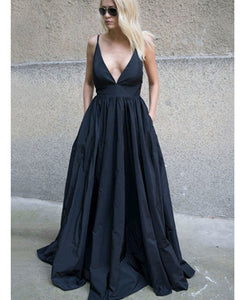 Sexy Deep V neck Dark Navy Formal  Party Long Evening Gown