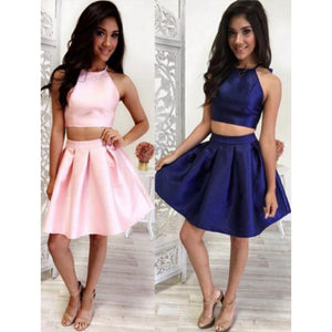Pin/Blue Halter 2018 Two Pieces Homecoming Dress Short Semi formal Girls Party Gown SP0570