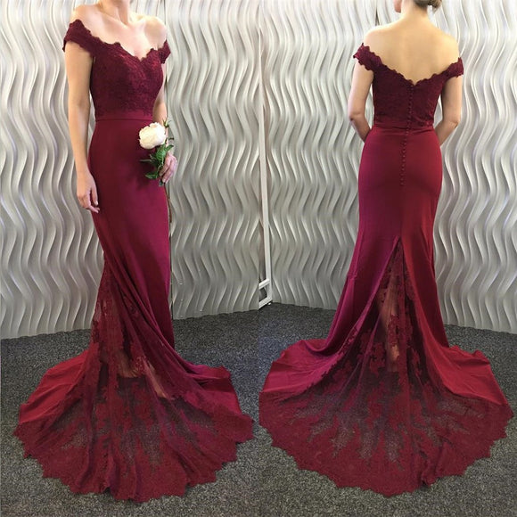 Siaoryne off the shoulder Lace Mermaid Burgundy Bridesmaid Dresses Long Prom Gown