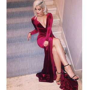 Burgundy Fitted Dresses Long Sleeves Velvet Winter Formal Gowns ,Sexy Deep V Neck Evening Dresses Long