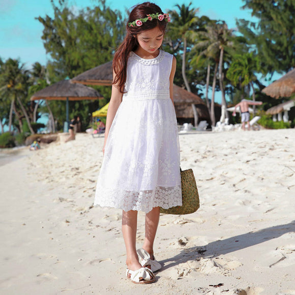 White sleeveless Lace Summer Dress for kids child party dress flower girls dress,lace dress for little girl
