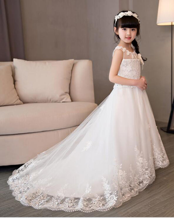 White Lace Little Girls Wedding Dress Child Flower Girls Dresses