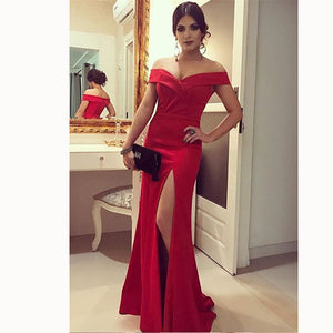 Red Long women Prom Dress Fitted Off the Shoulder Evening Gown with Slit Floor Length Vestido De Festa 2018 LP4468