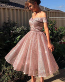 Bling Bling Rose Gold Off Shoulder Short Sequins Prom Dress Cocktail Gowns SP0331