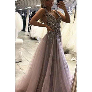 Siaoryne Tulle Mauve grey Long Evening Gowns Sexy Split Prom Dress with Sequins Beading
