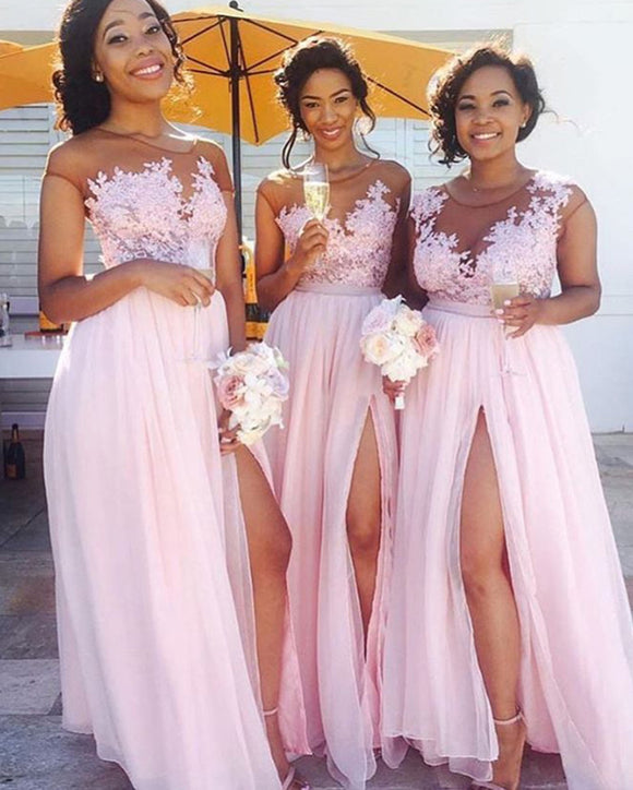 Pink Long Chiffon Bridesmaid Dress Women Maid of the honor Gown with Lace