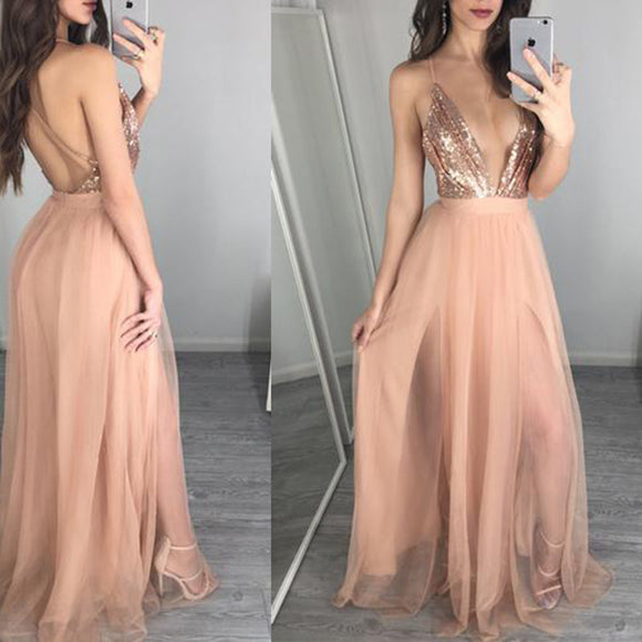 Gold Prom Dress Sexy Slit Sequins Party Dress