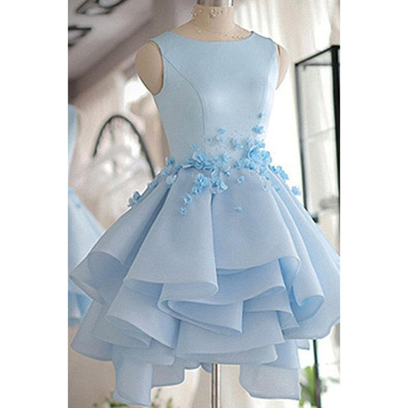 SP1447 Sky Blue Poofy Ball Gown Short Prom Dress Homecoming Dresses
