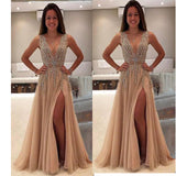 Beading Champagen A Line Prom Dress Long