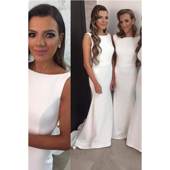 Elegant Ivory Satin Bridesmaid Dresses Fitted Formal Gowns