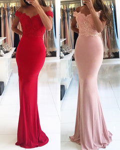 Red/Pink Fitted Party Dresses Off the Shoulder Formal Wear PL657