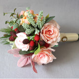 Wedding Bouquet Handmade Bridal Flower Artificial Hydrangea Peony Rose butterfly Brooch Bouquets