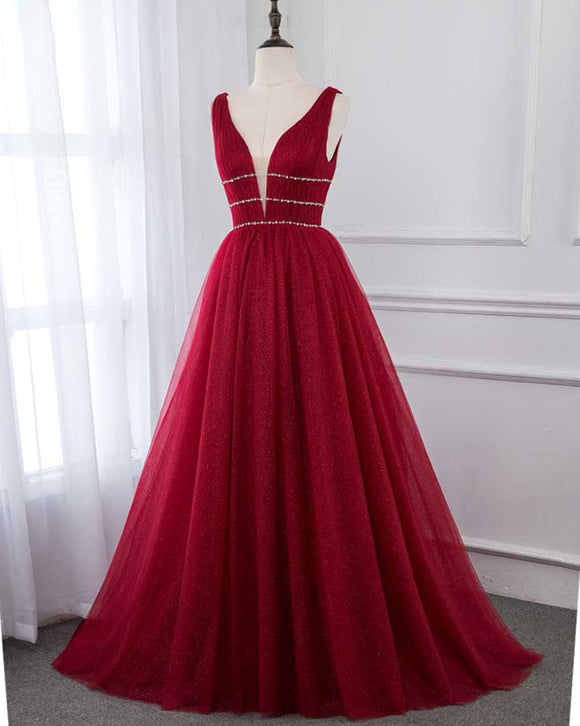 Siaoryne 2019 Wine Red A Line Bling Bling Tulle Prom Dresses Long Pageant Gown for Girls PL698