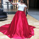 Siaoryne LP035 Off the Shoulder Lace and Satin Evening Dress prom Gowns