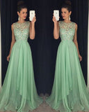 Mint Chiffon Beading Girls Evening Prom Dresses Long PL1244
