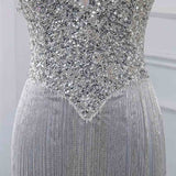 Bling Bling Silver Gray Mermaid Long Evening Party Dresses Women Luxury Pageant Gowns PL6874