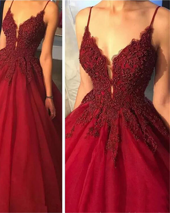 Dark Red Beaded Ball gown Quinceanera Dresses Sweet 15 Party Wedding gown LP321