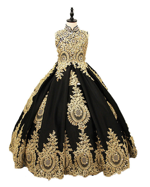 Black and Gold Lace Appliqued Flower Girls Party Dresses