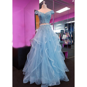 Gorgeous Blue Crop Top Prom Dresses Off the Shoulder Lace Tiered Blue Senior Prom 2018