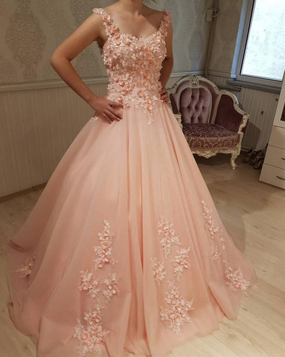Romantic Lace Flowers Blush Pink Ball Gown Wedding Dresses Sweet 16 Dress PL2221