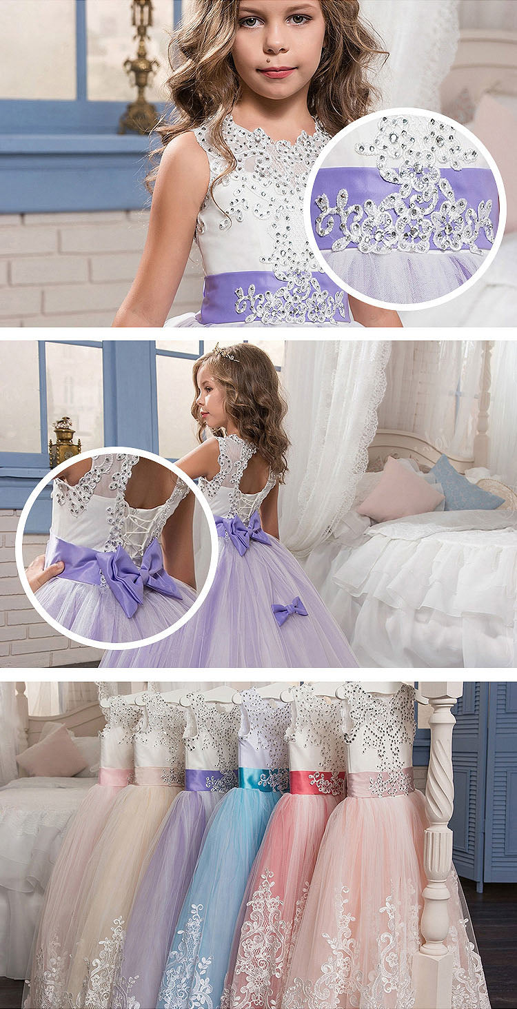 07f0e5a3d ... Lovely Lace Puffy Lace Flower Girl Dress 2018 for Weddings Tulle Ball Gown  Little Girls Party ...