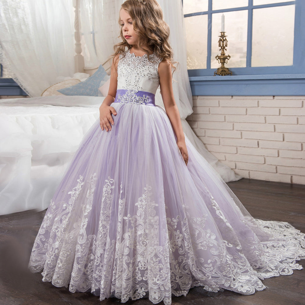 6fa6c9e9e38 ... Lovely Lace Puffy Lace Flower Girl Dress 2018 for Weddings Tulle Ball  Gown Little Girls Party ...