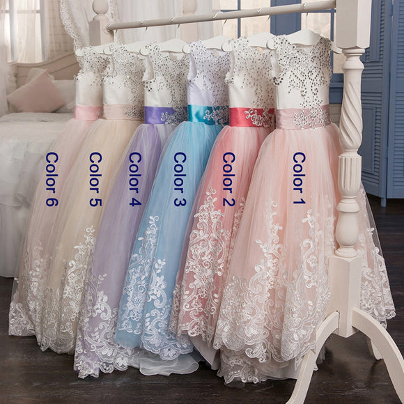 Lovely Lace Puffy Lace Flower Girl Dress 2018 for Weddings Tulle Ball Gown Little Girls Party Communion Dress Pageant Gown