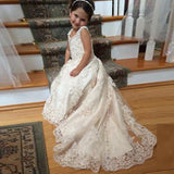 Lovely lace Flower Girl Dresses Little Child Ball Gown Floor Length First Communion Gown SP681
