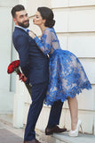 Siaoryne LP0903 Short Prom Dress Blue Homecoming Dress Lace
