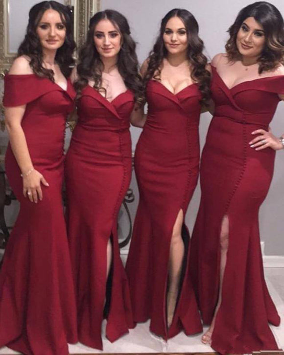 Wine Red Long Slit Fitted Bridesmaid Gown Wedding Party Dresses Burgundy 2019 BD145