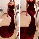 Siaoryne LP0903 Burgundy Sexy Mermaid Prom Dress Long Velvet Sweetheart Evening Gowns Fishtail