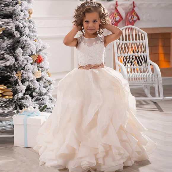 Ruffle Ball Gown Flower Girl Dresses with Belt little girl wedding Dress