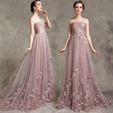Pale Mauve Strapless Bridesmaid Dress with Handmade Flowers Long  Women Evening Wedding Party Gown LP7702