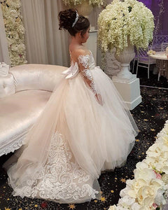 Long Sleeves Lace Ball Gown Flower Girl Dresses with Bow First Communion Girls Dress