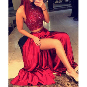 Siaoryne LP0903 High Neck Burgundy Two Pieces Prom Dress Crop Top Evening Formal Gowns