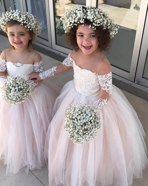 Lovely Long Sleeves Ball Gown Little Flower Girl Dresses First Communion Gown LF087